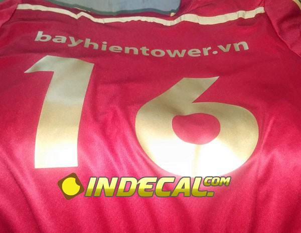 Cắt decal ép nhiệt in số áo đá bóng - khách hàng Bayhien Tower
