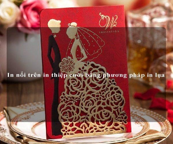 In nổi trên in thiệp cưới bằng phương pháp in lụa 1